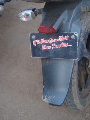 Funny License plate slogans. It happens only in India.