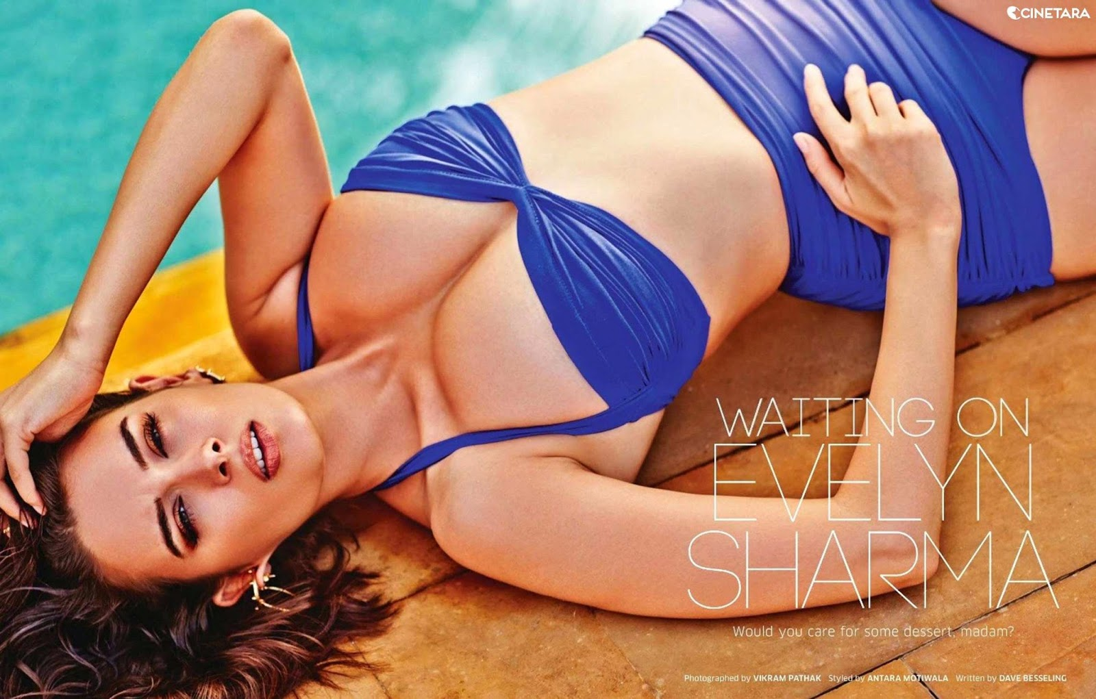 Evelyn Sharma blue swimsuit