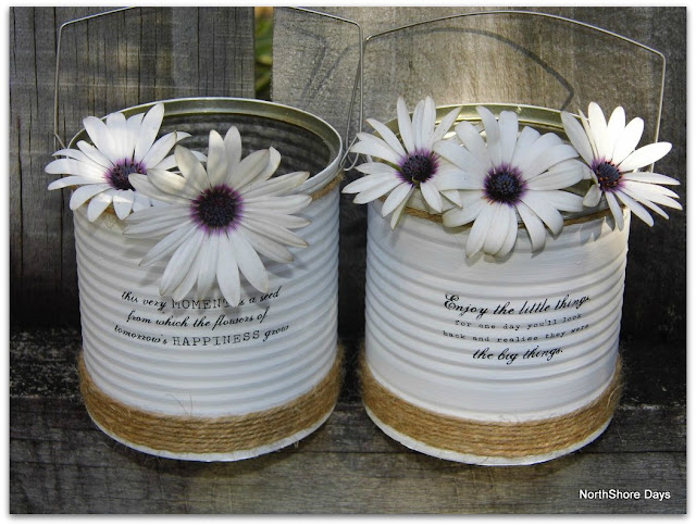 Northshore days up cycled painted tin cans for Tin cans for crafts
