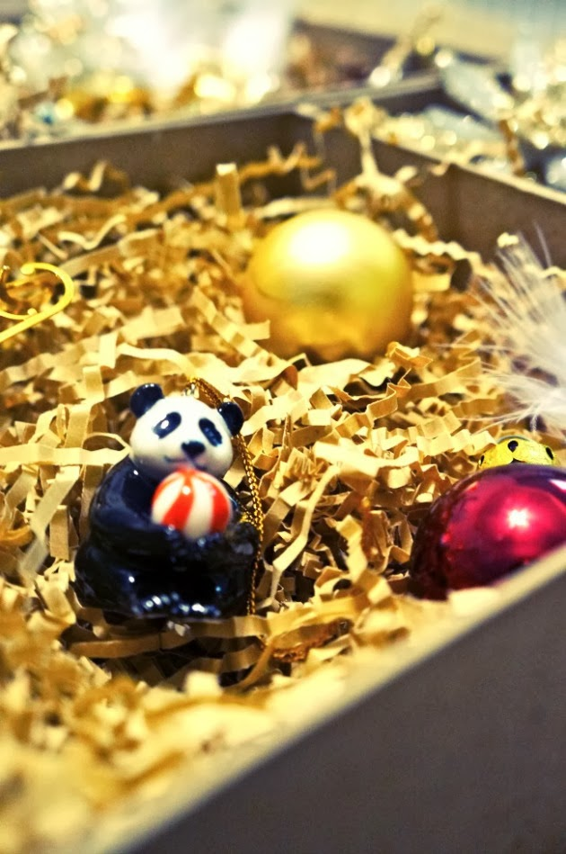 porcelain panda ornament