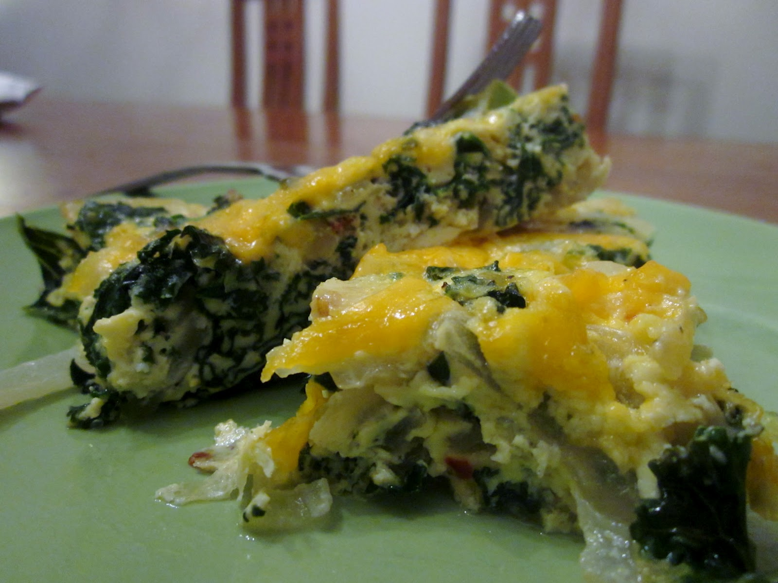 Mon Amy: Crustless Kale, Onion and Cheddar Quiche