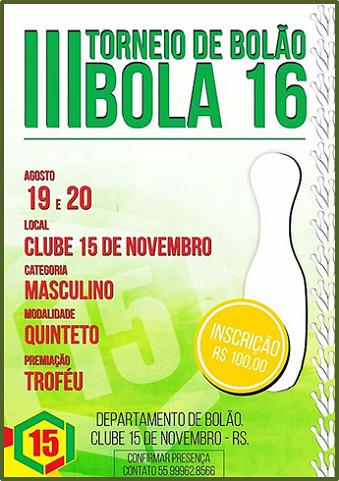 3º TORNEIO DE BOLÃO 16