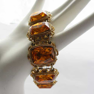 amber glass vintage costume bracelet by Sphinx