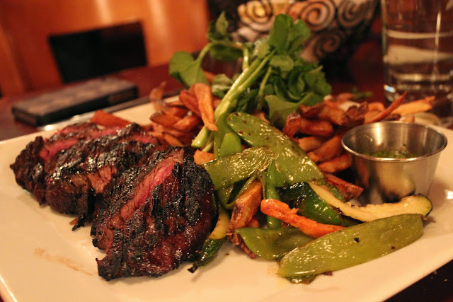 Coffee-rubbed hanger steak at Masona Grill, West Roxbury, Mass.