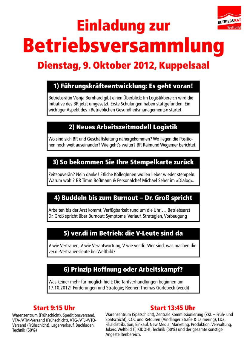 weltbild verdi infoblog: oktober 2012, Einladung
