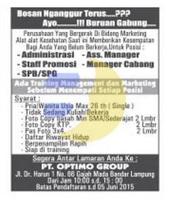 Lowongan Admin, Manager, SPG/SPB Lampung