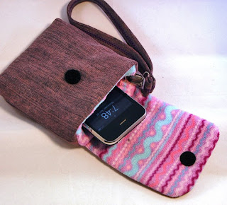 upcycled cell phone bag