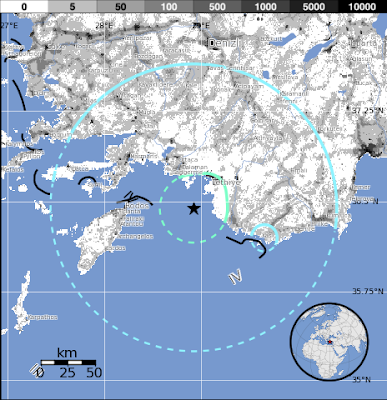 Sismo de 5.8 golpeó las islas del Dodecaneso, Grecia el domingo, 10 de junio 2012 a las 12:44 UTC