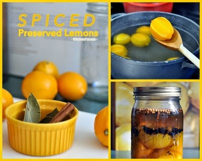 Spiced Preserved Lemons ♥ KitchenParade.com, just lemons, salt and pantry spices but so handy to have on hand.