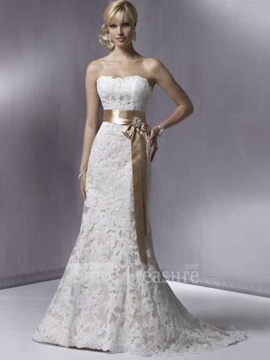 Elegant white wedding dress designs with ribbon decoration for White elegant wedding dresses