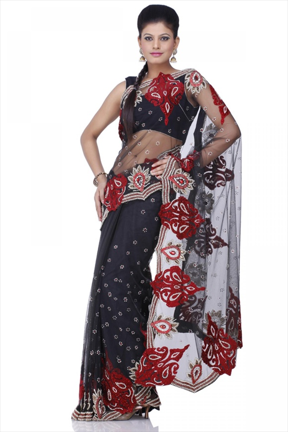india Black Net Saree