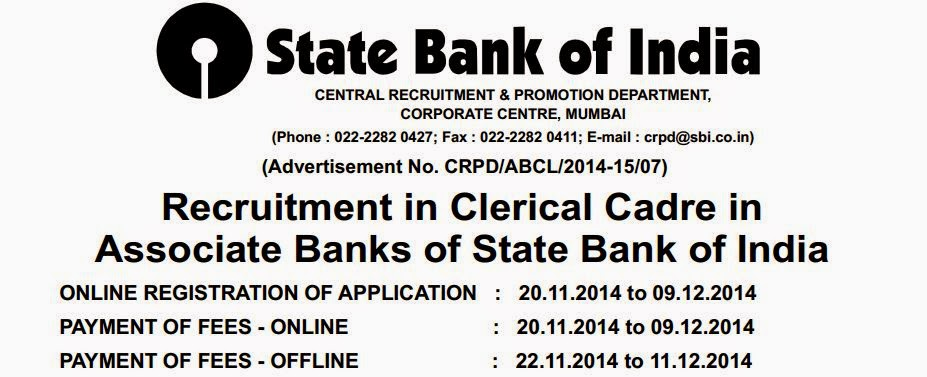 State Bank of India SBI 6425 Online Recruitment Clerks in Associate Banks 2017/2017