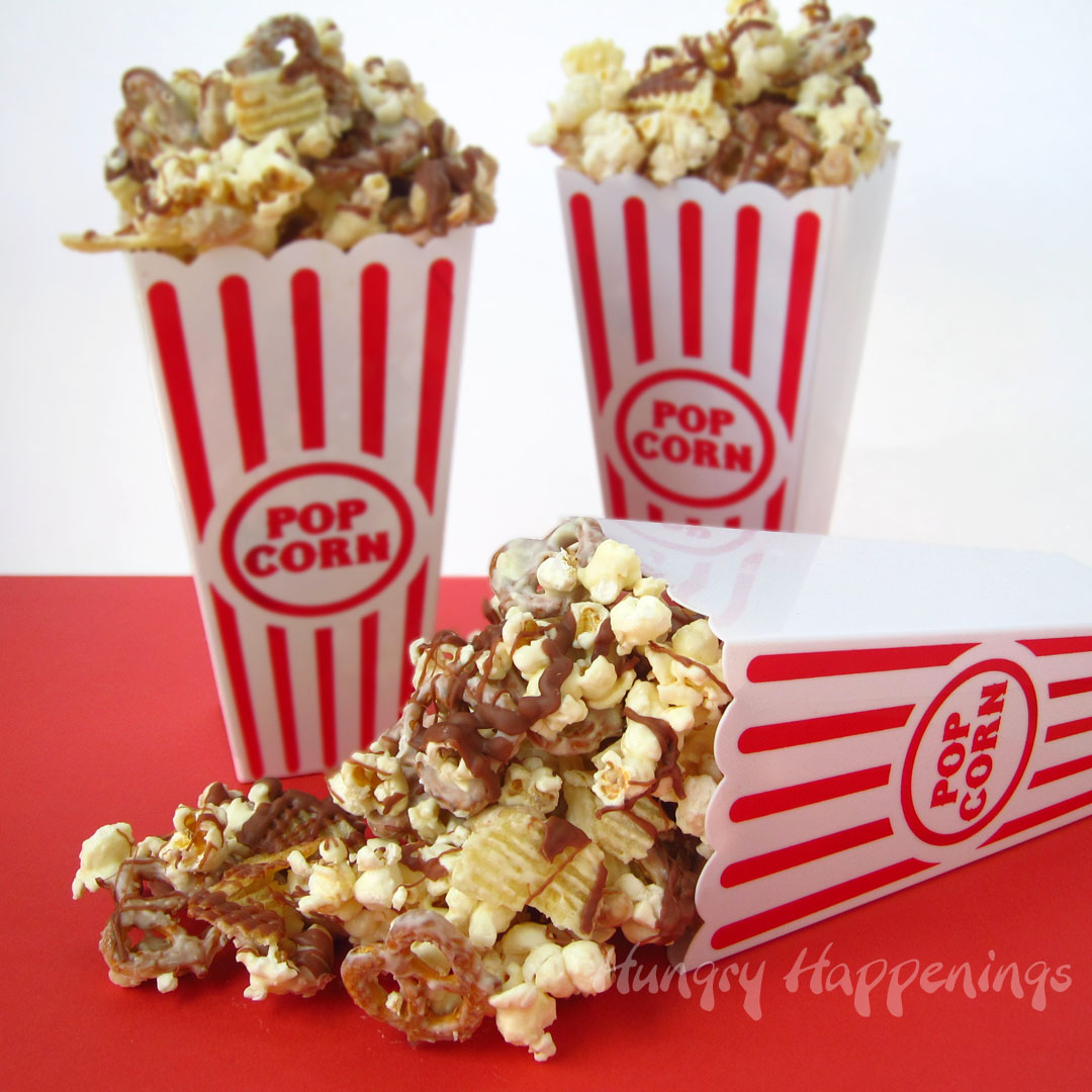 White Chocolate Popcorn with Peanuts, Pretzels, and Chips