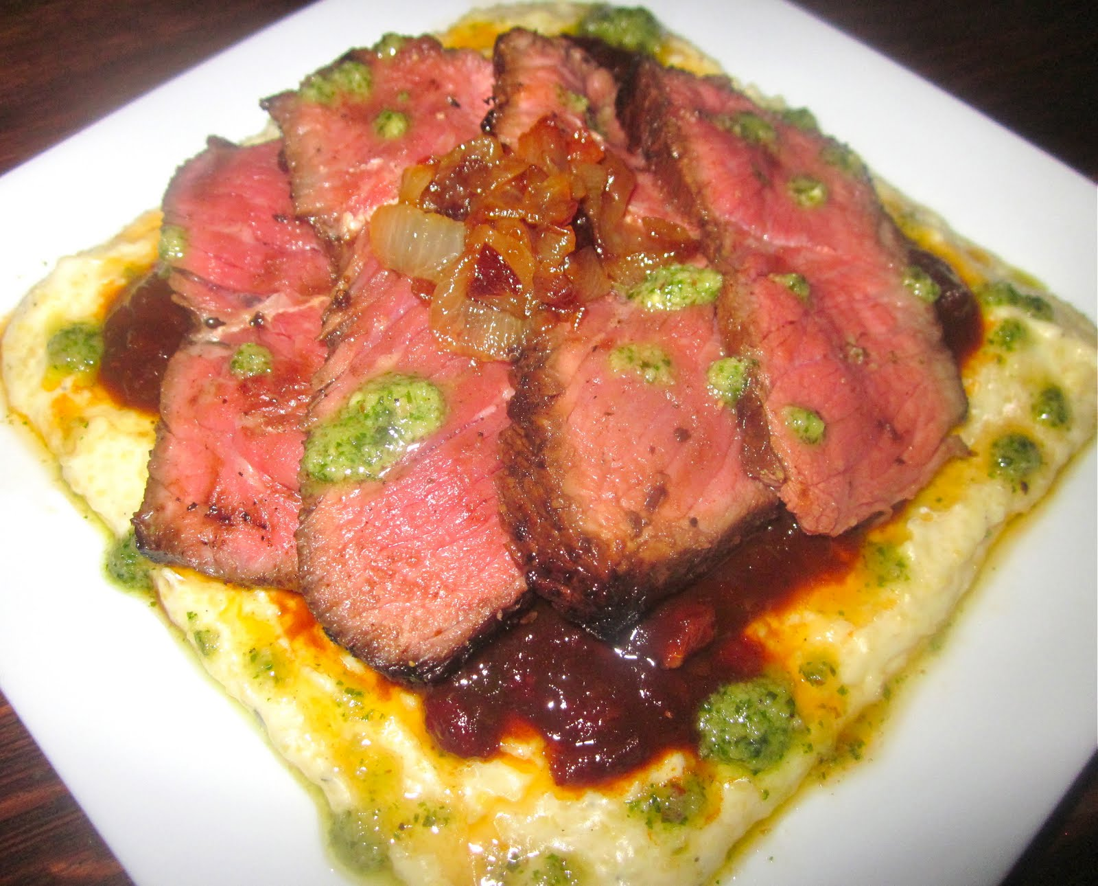 Seared Steak & Goat Cheese Polenta with Balsamic-Sun Dried Tomato Jam