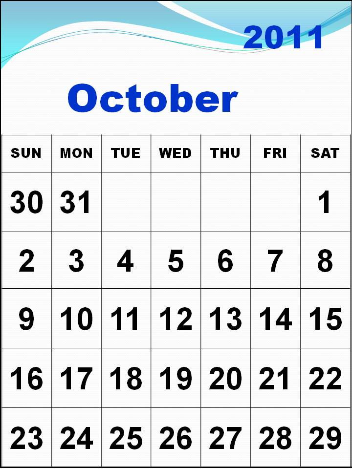 october 2011 calendar. october 2011 calendar with