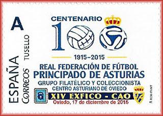 Sello personalizado del Centenario de la Federación asturiana de Fútbol del Centro Asturiano
