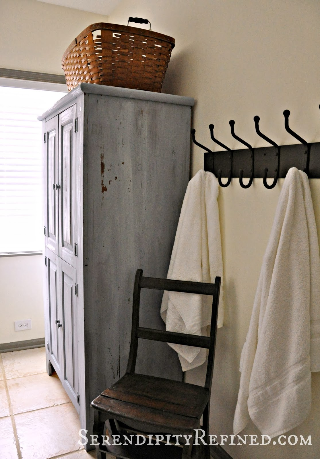 Inspirational I loved transforming my humble pine cupboard into our new bathroom linen cabinet using Miss Mustard Seed Shutter Gray Milk Paint