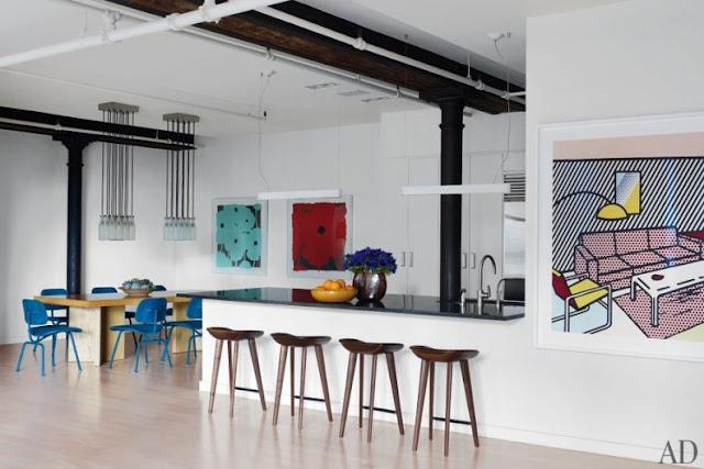 loft con obras de arte retro