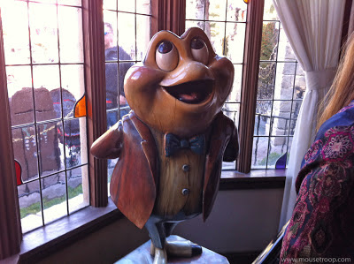 Mr. Toad's Wild Ride Disneyland statue Toad queue wooden