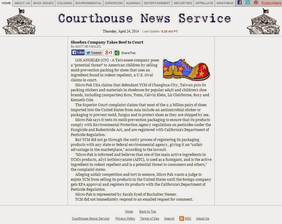 Courthouse News Service: Shoebox Company Takes Beef to Court