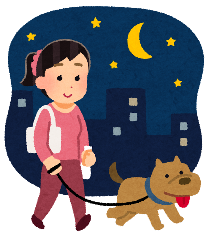 夜の犬の散歩のイラスト(女性)