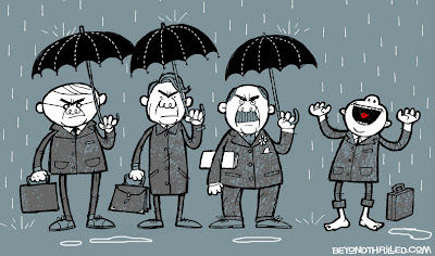 Businessmen in the rain illustration - Beyond Thrilled