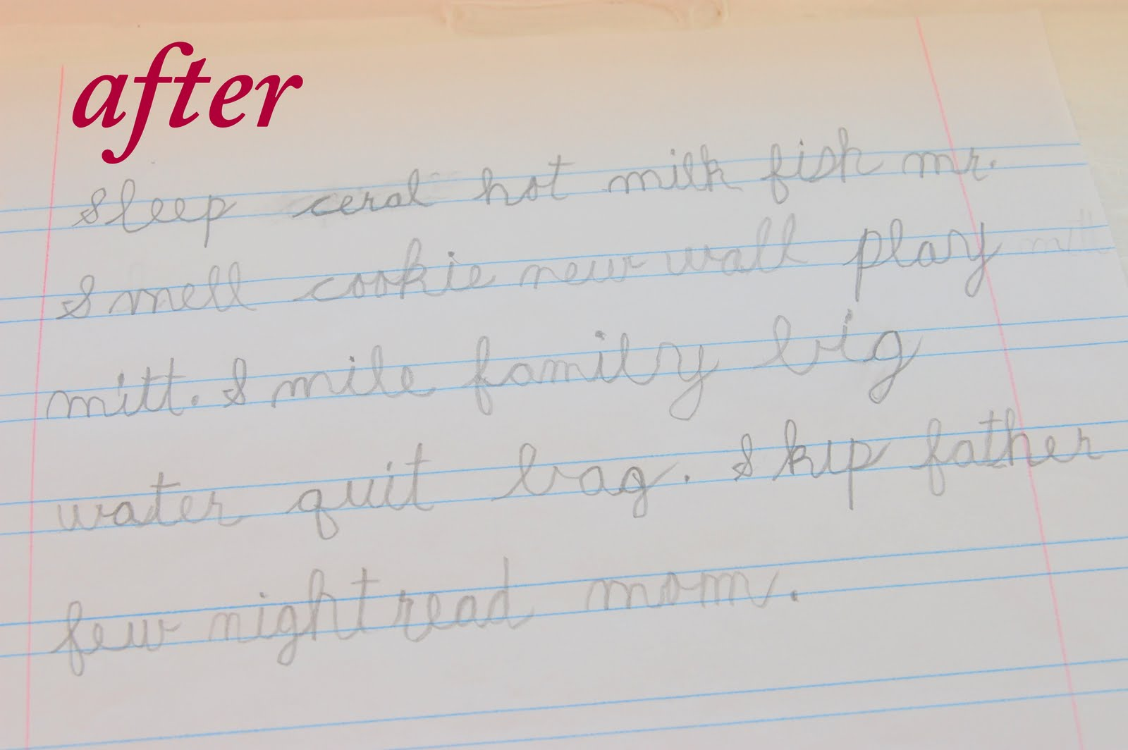 9 year old handwriting