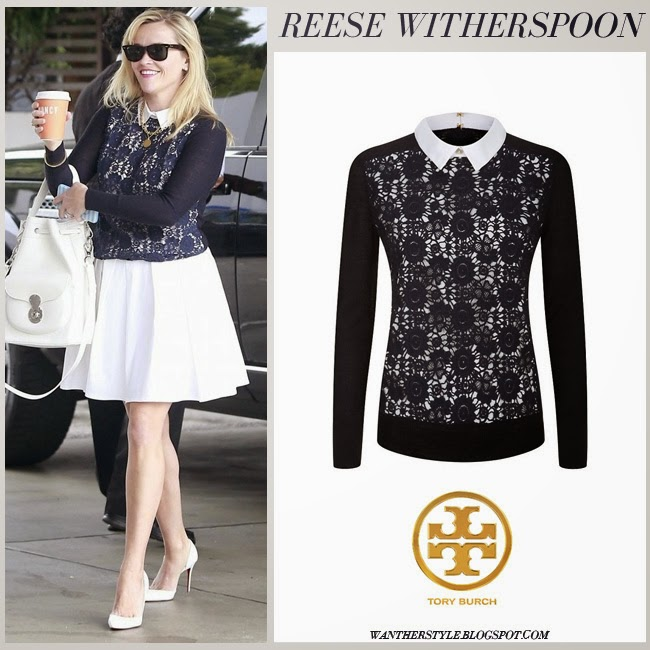 Reese Witherspoon in blue lace Sandy sweater from Tory Burch with white mini skirt april 23 want her style sprig fashion