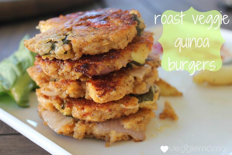 Roasted veggie quinoa burgers