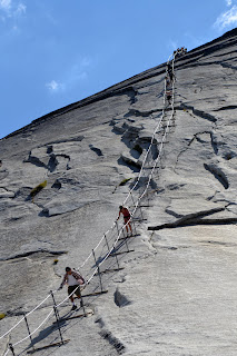 Steep cables leading up Half Dome