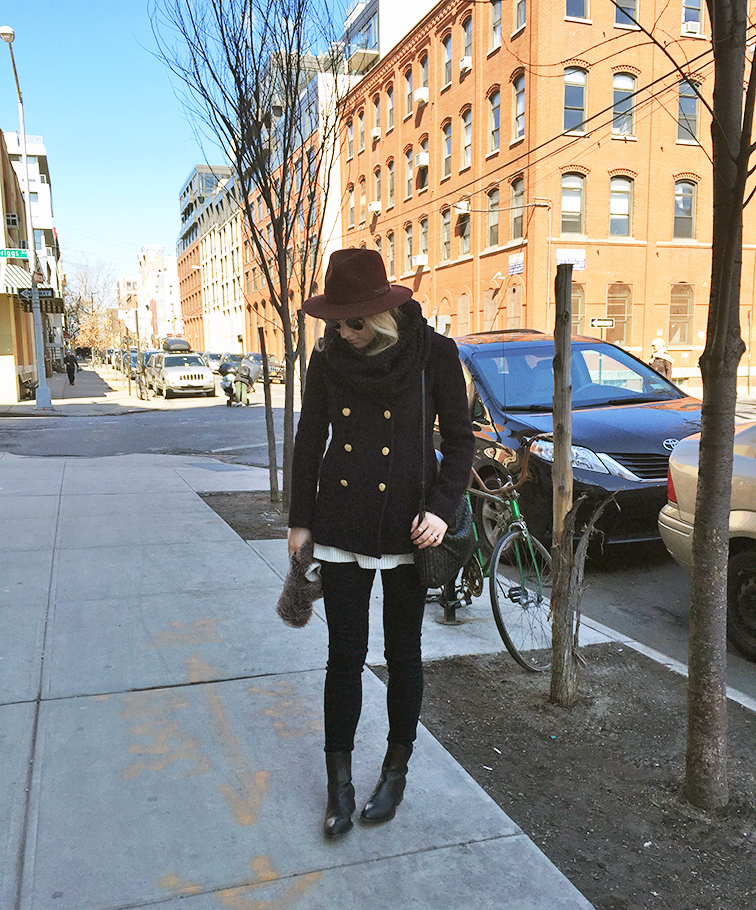 Fashion Over Reason, transitional weather, JCrew majesty pea coat, Alexander Wang Anouk boots, J Brand Maria Photo Ready jeans, Bailey of Hollywood wide brim hat