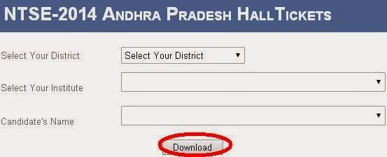 NTSE-2014 Andhra Pradesh HallTickets