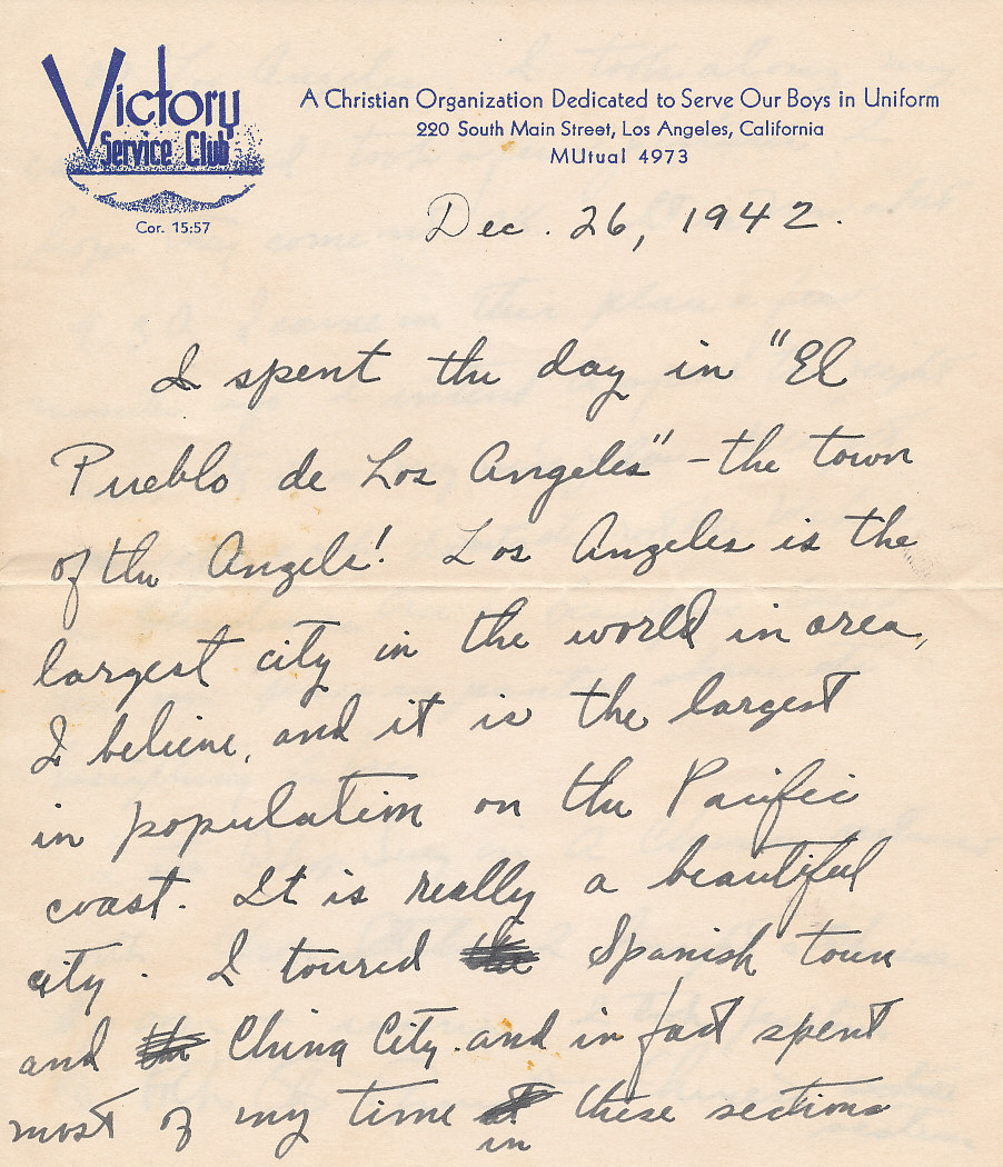 soldier in training wwii letter las angeles victory serice club