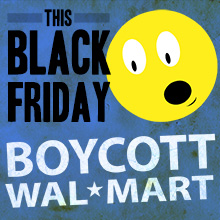 A dark blue background with a yellow moon-face with its mouth open in an Oh looking shocked. In black it says This Black Friday and in white it says Boycott Walmart