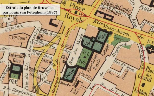 Mont des Arts - Quartier Saint-Roch voué à disparaître - Première implantation de la rue courbe du Coudenberg  - Extrait du plan de Bruxelles réalisé par Louis van Peteghem en 1897 - Bruxelles-Bruxellons