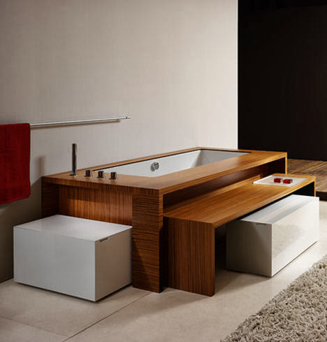 To da loos: Tub base Tuesday: Teak tub with a pull out side table
