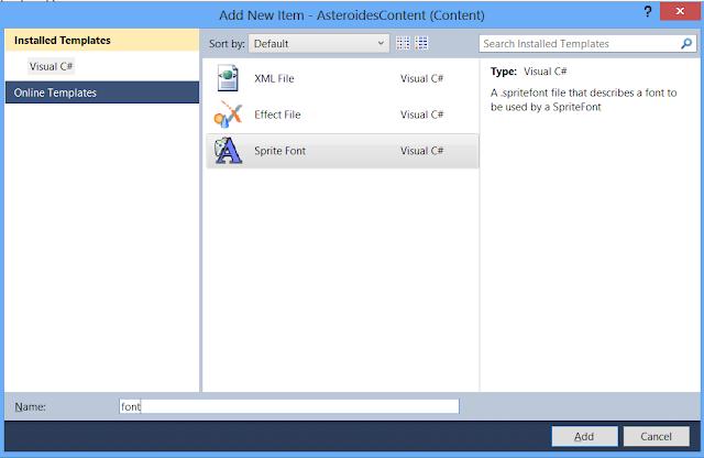Adicione um novo GameComponent ao projeto para poder escrever em tela - GameDev Xbox Blast