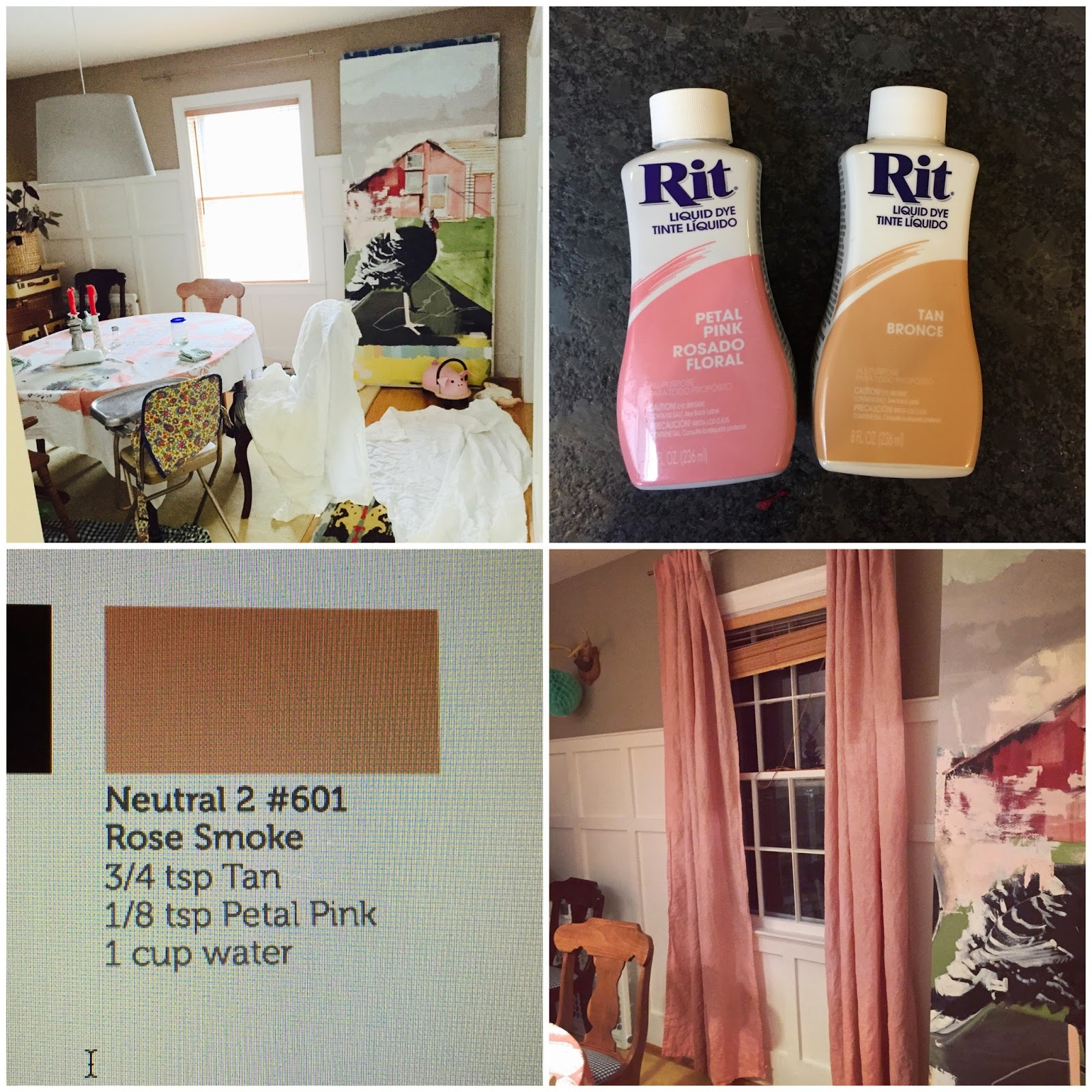 Tiptoethrough diy dyed dinging room curtains so after consulting the rit dye color chart online here i opted for rose smoke which combines petal pink and tan and i gotta say im loving the results nvjuhfo Images