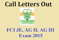 FCI Admit card 2015