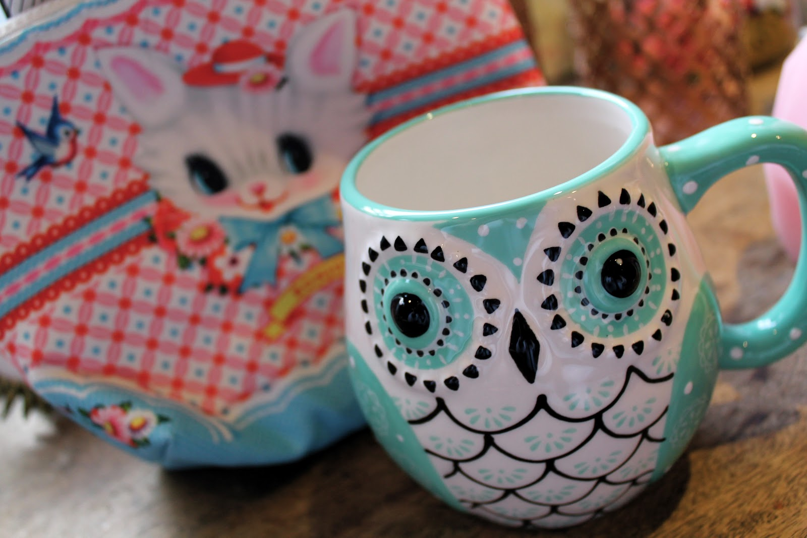 folk blue owl mug