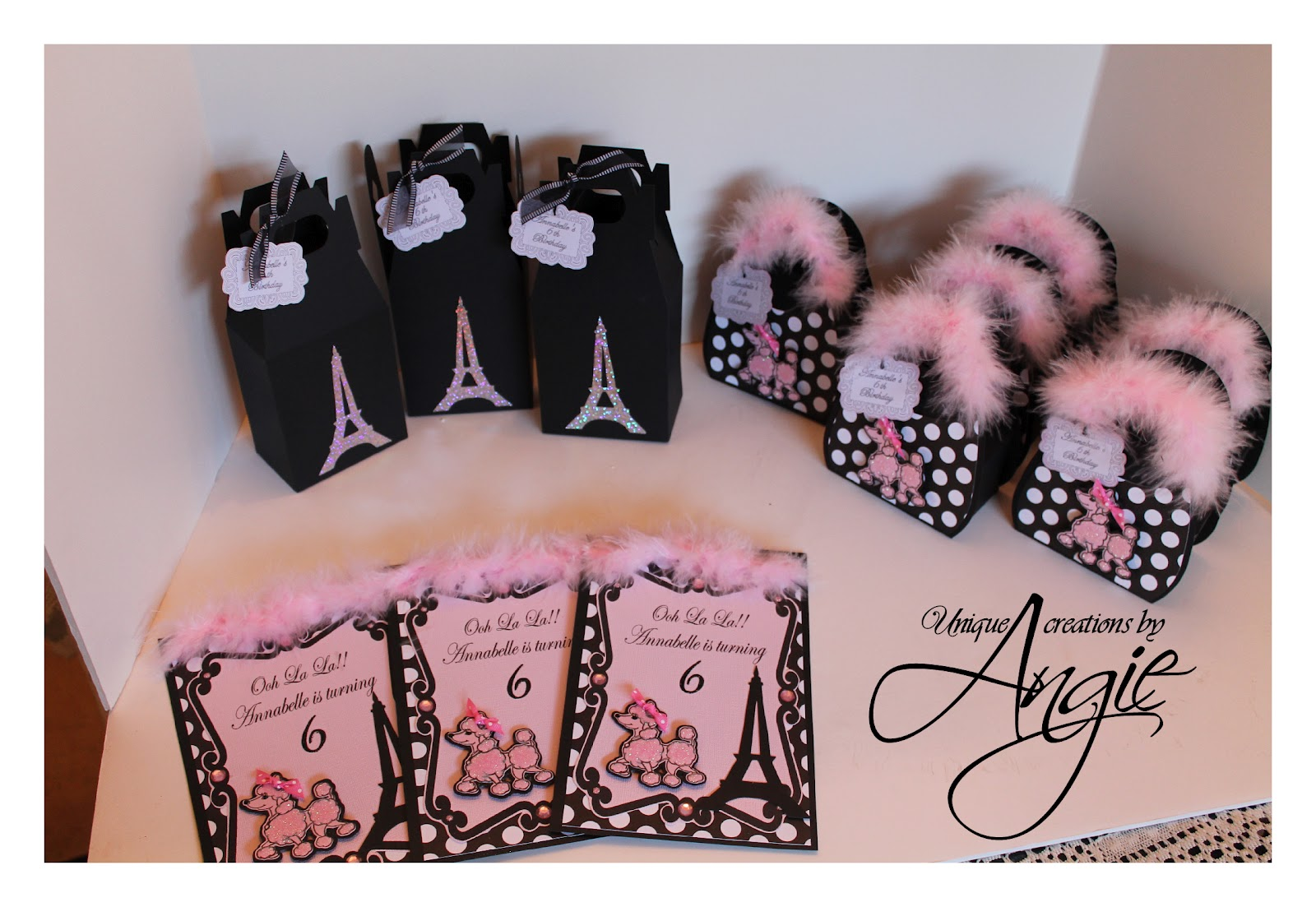 Poodle In Paris Party Decor Favors Goo Bags Invites Cupcake Toppers And Cake Topper