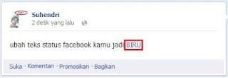 Baru Cara Update Status Facebook Teks Biru