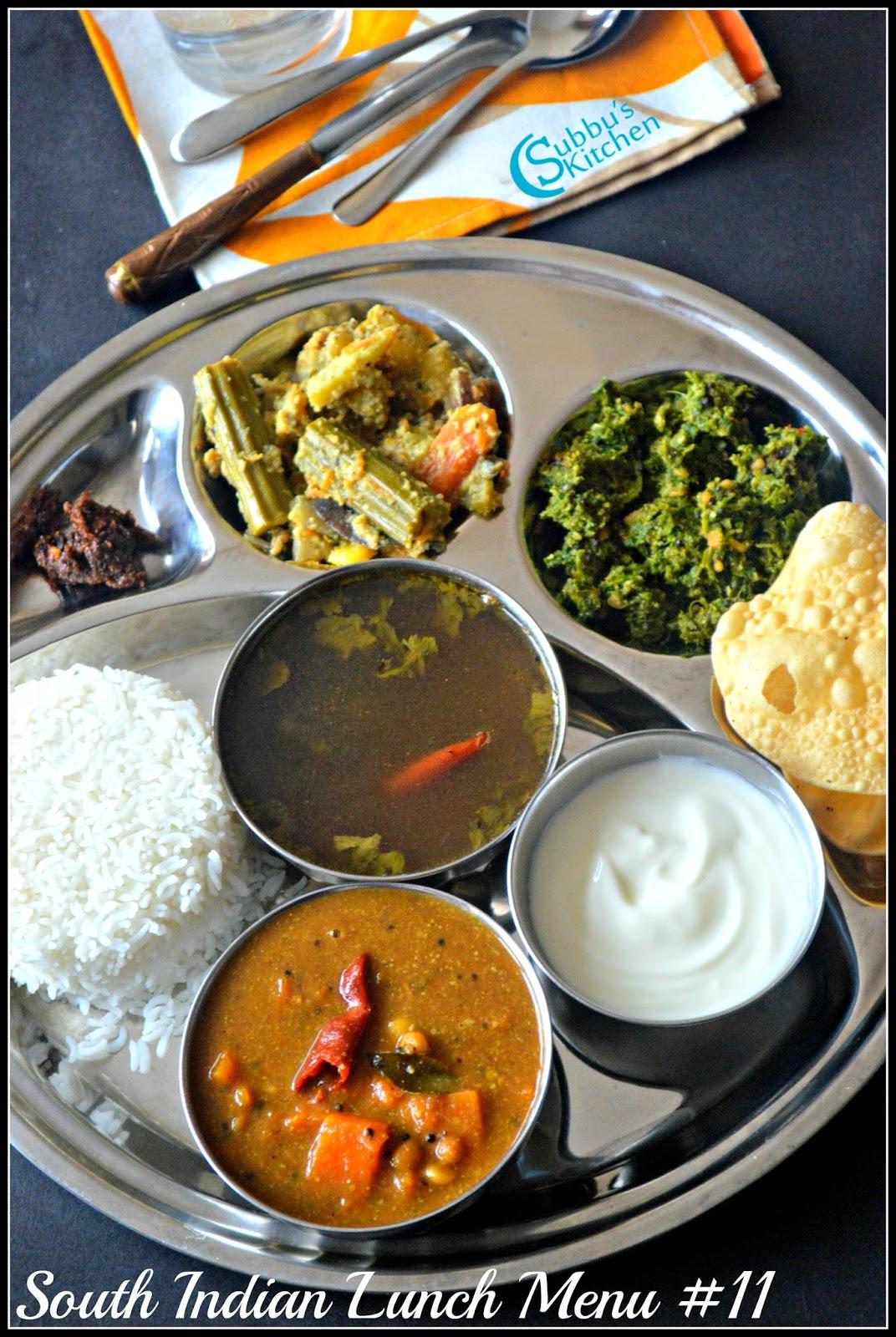 South Indian Lunch Menu 11 - Parangikai Puli Kuzhambu, Aviyal, Keerai Thuvaran and Kottu Rasam
