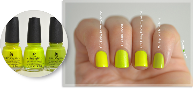 China Glaze Daisy know my name Sun kissed Trip of a lime time