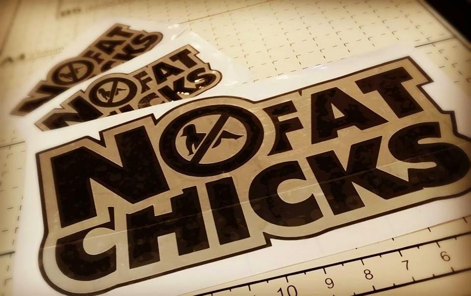 No fat chicks die cut stickers