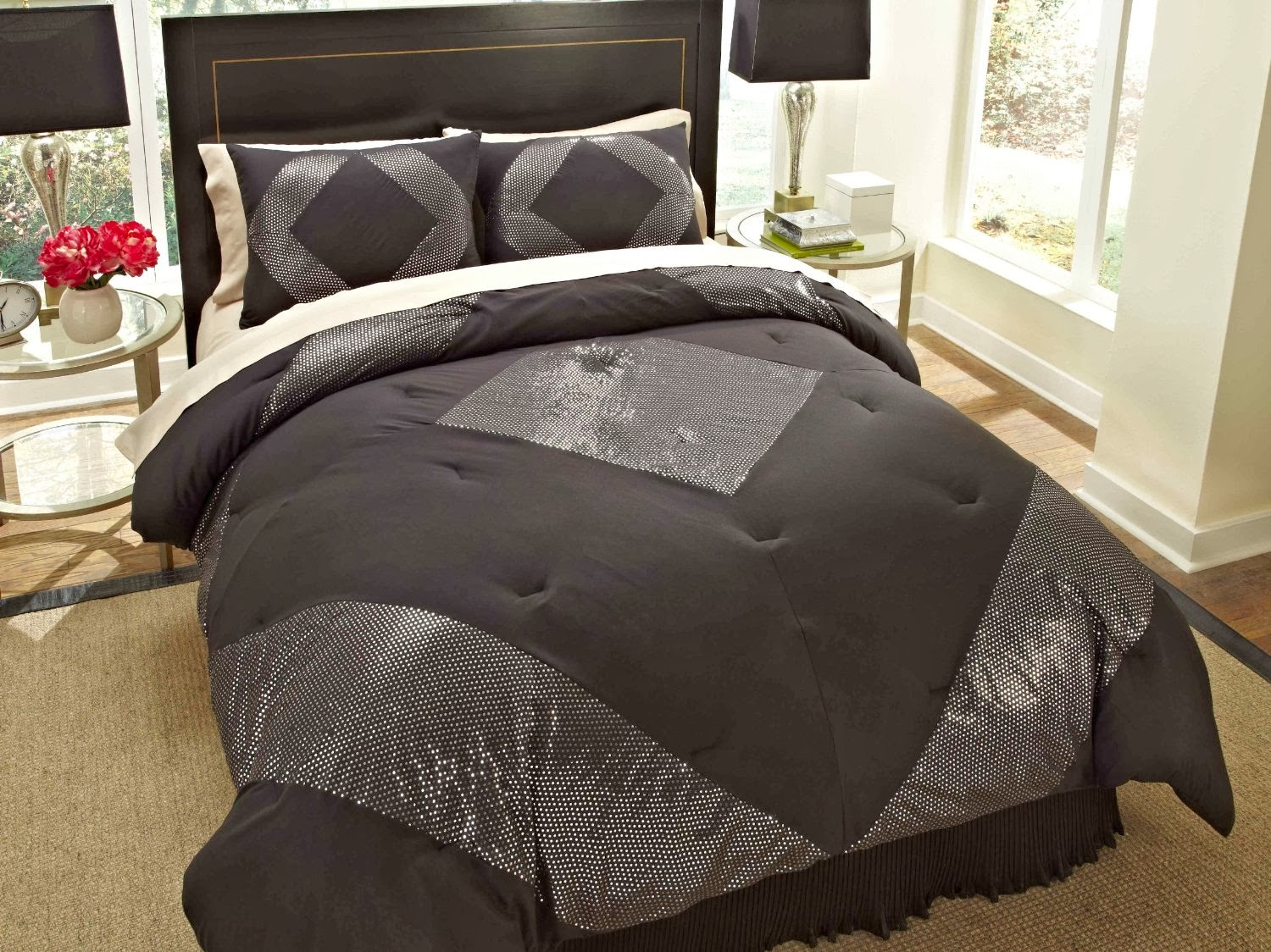 buy best and beautiful bedding sets on sale black and silver  - metallic animal  piece comforter set in black  silver