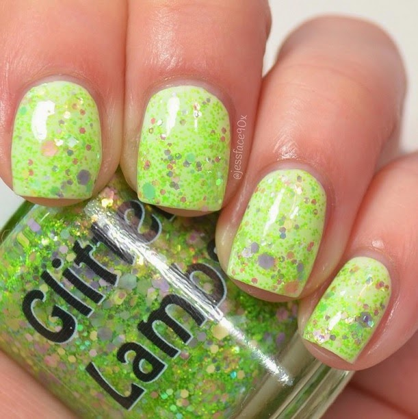 "Glitter Lambs ""Lime-Green Eyeshadow""  Glitter Topper Nail Polish  Fashion Makeover Collection"