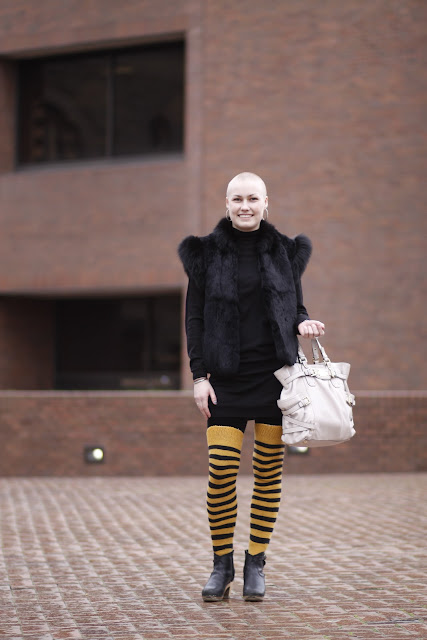 Haley Keel Striped knee high socks clog boots shaved head fur vest seattle street style fashion it's my darlin'
