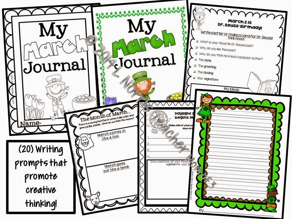http://www.teacherspayteachers.com/Product/Writing-Prompts-for-March-For-journals-and-writing-centers-1136776