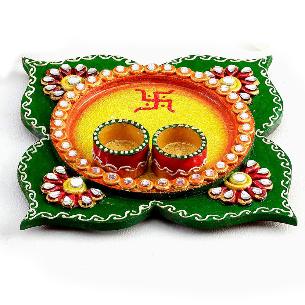 Shricreation art decorative pooja thali for Aarti thali decoration with clay